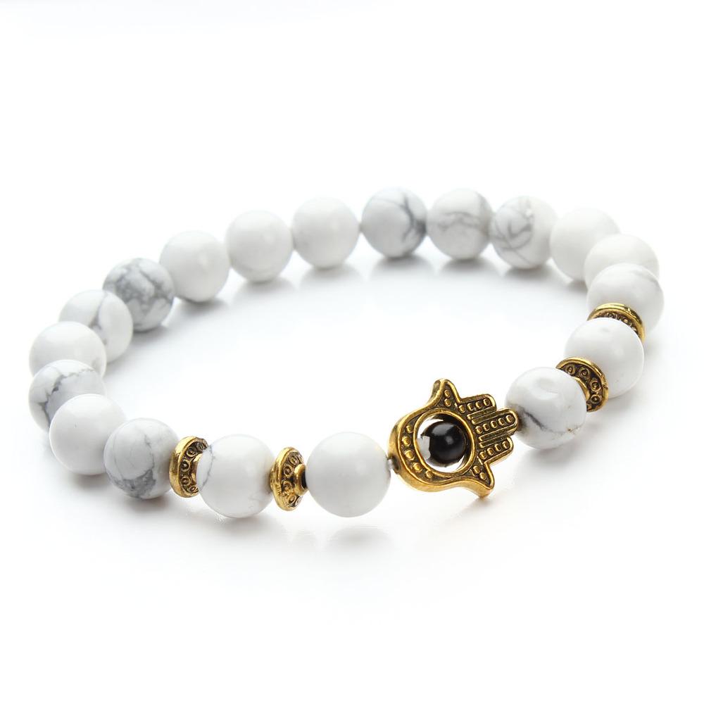 Bílo -zlatý náramek Fatimina ruka