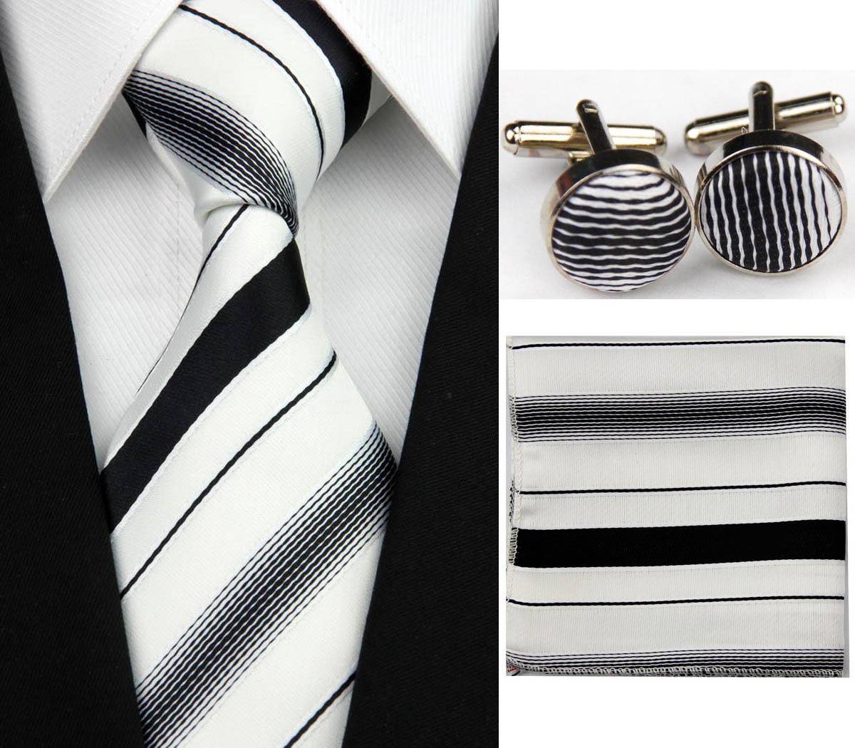Bílo - černý set kravata, kapesník a manžetové knoflíčky Pruhy