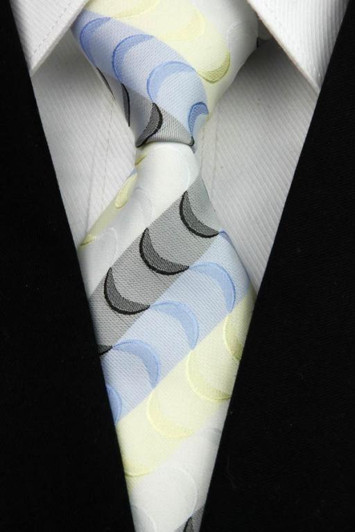 Bílo - černo - žluto - modrá kravata Pruhy Wave