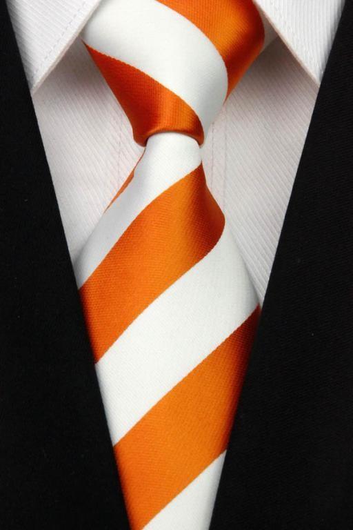 Bílo - oranžová kravata Pruhy
